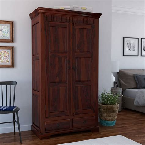 Wardrobe Cabinet With Drawers by Marengo Rustic Solid Wood Handcrafted 2 Drawer Armoire