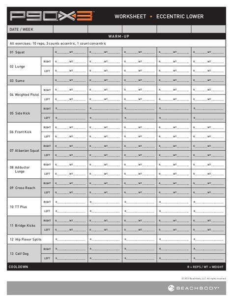 p90 x3 worksheets