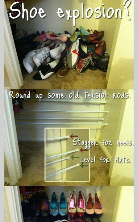 diy shoe rack  shower rods organization pinterest
