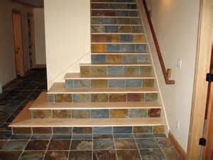 Wood Stair Nosing For Tile by Maple Stair Treads With Tile Risers Staircase Other