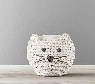 kitty shaped wicker basket pottery barn kids