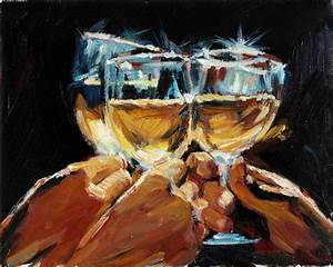 Wine Art Original Contemporary Oil Painting by AnastassiaArt