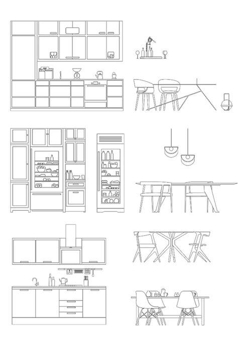 Modern Kitchen Furnitures Cad Dwg for Architecture