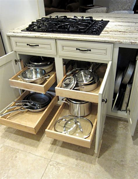 kitchen drawers stove pull under island pots pans drawer cabinets storage pantry