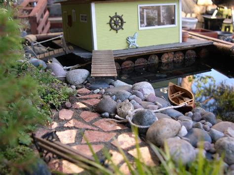 Floating Boat Garden Design by Miniature Garden With Houseboat Size Small