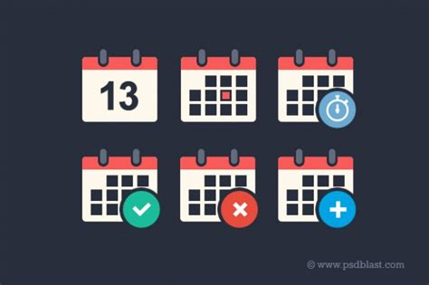 Flat Calendar Psd Icon Set Psd File