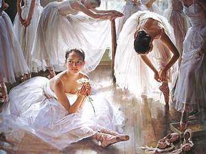 LOVE ART: Beautiful ballet dancer oil painting