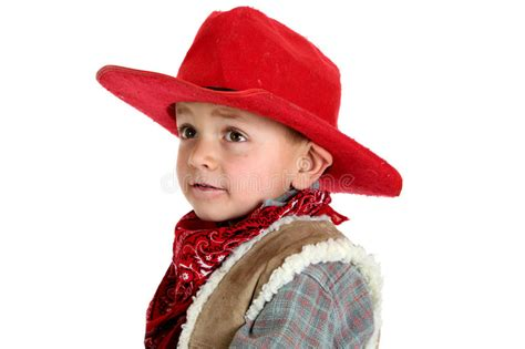 cute young cowboy   red cowboy hat  bandana royalty  stock photography image