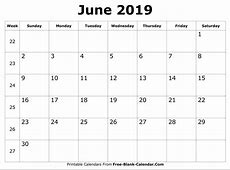 Blank June 2019 Calendar Printable Templates FreeBlank
