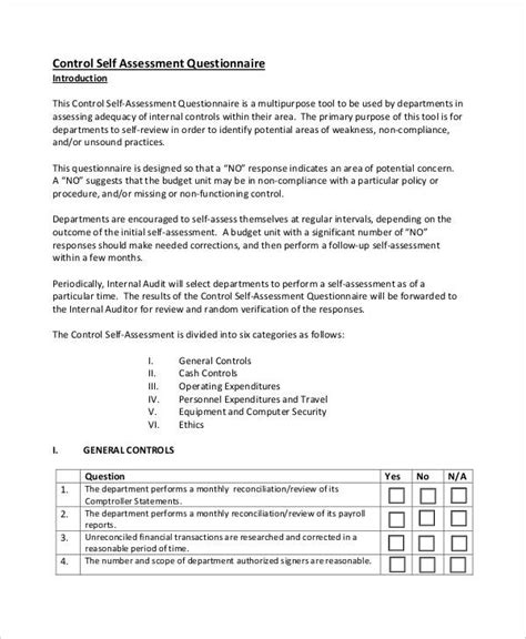 35+ Assessment Questionnaire Examples