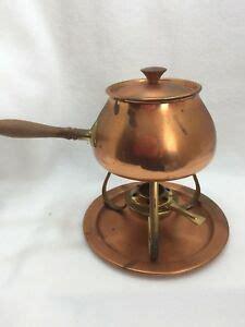 vintage copper tagus fondue set portugal  ebay