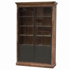 Meuble Bois Fer : meuble vaisselier biblioth que bahut vitrine haut bois fer m tal 220 cm chemin de campagne ~ Melissatoandfro.com Idées de Décoration