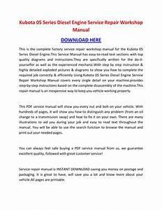 Shop Manual Kubota 05 Series Diesel Engine Service Repair