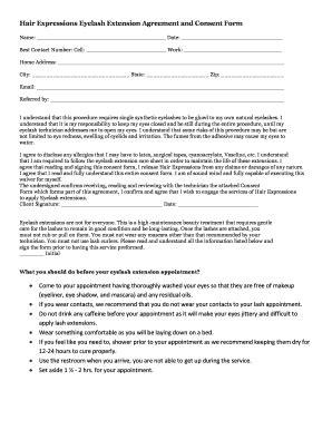 eyelash extension waiver form fillable free eyelash extension consent form edit online