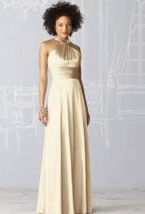 gold bridesmaid dresses after six style 6624 sleeveless gold charmeuse sheath bridesmaid with a halter neckline