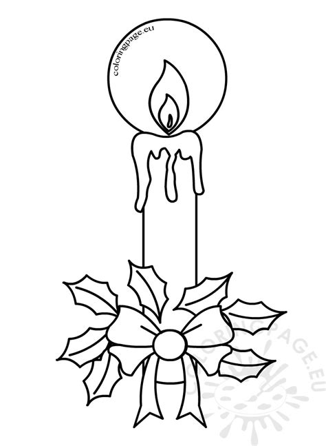 christmas coloring pages candles  holly coloring page