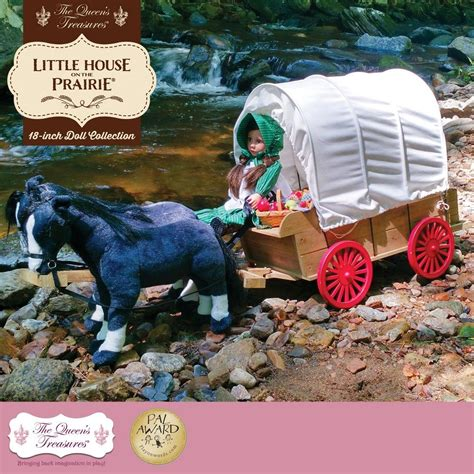 queens treasures  house   prairie  doll accessory  covered wagon