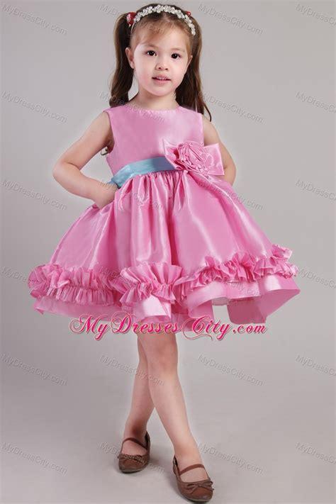 Kneelength Rose Pink Scoop Taffeta Belt Little Girl Dress