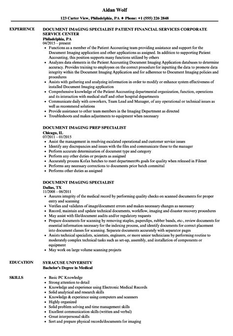 document imaging specialist resume sles velvet