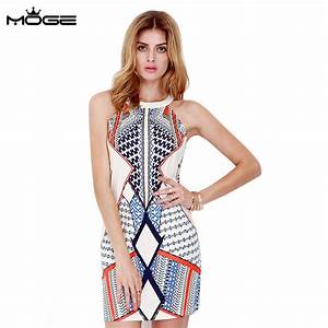 moge women print summer dress sexy culb dress party With robe tunique été