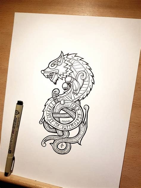 fenrir tattoo croquis esquisses  tatouage viking