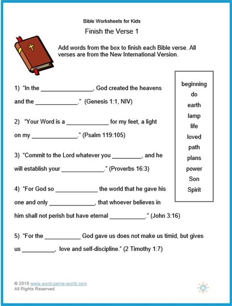 bible worksheets for