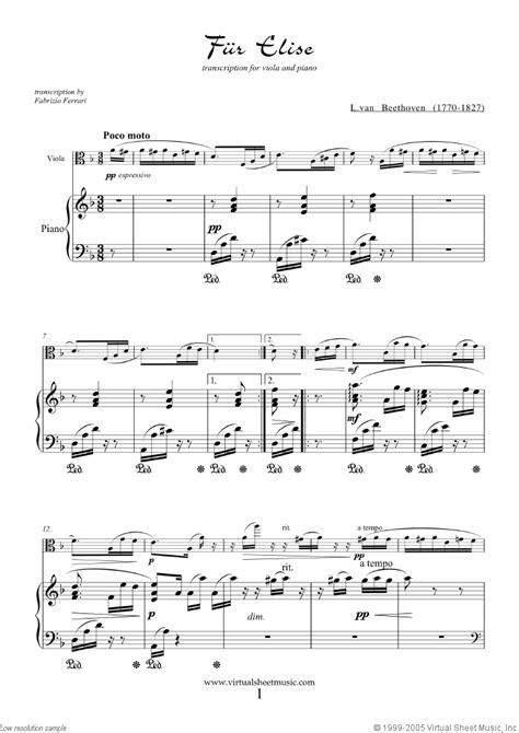 beethoven fur elise sheet   viola  piano