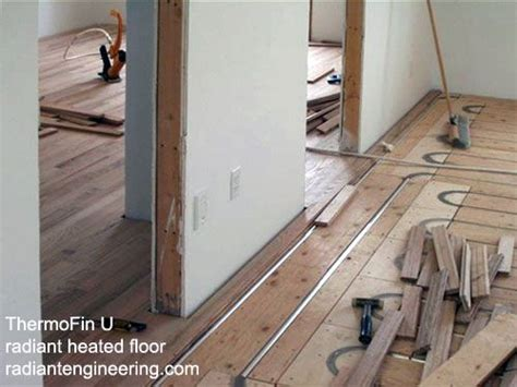 thermofin u installed under a hardwood floor in a hydronic
