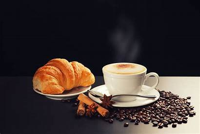 Foam Cappuccino Saucers Anise Croissant Cinnamon Spoon
