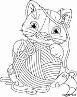 Coloring Colorear Yarn Lana Kitten Ball Pagina Gattino Coloration Gato Jugando Dibujos Gatito Cat Het Ovillos Filato Coloritura Palla Della sketch template