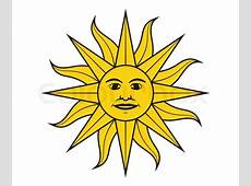 Sun of May in the flag of Uruguay vector illustration