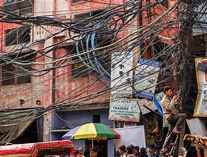 Tangled Electric Wiring In Street  India