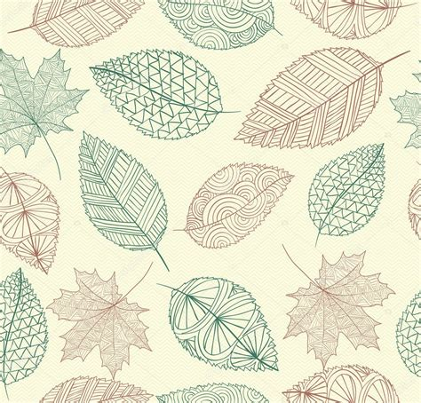 Vintage drawing fall leaves seamless pattern background