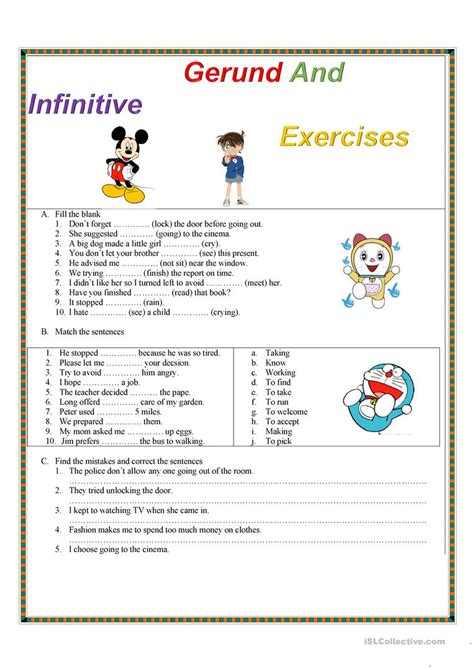 Gerund And Infinitive Exercises Worksheet  Free Esl Printable Worksheets Made By Teachers