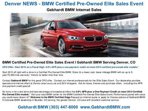 denver news bmw certified pre owned elite sales event