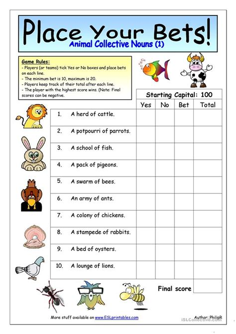 place  bets animal collective nouns  worksheet