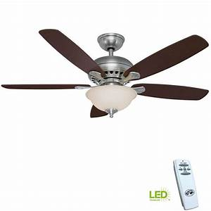 New 52 U0026 39  U0026 39  Brushed Nickel Ceiling Fan W   Remote Control