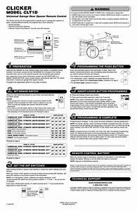 How To Program A Clicker Clk1 Garage Door Keypad