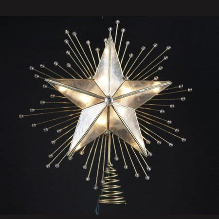 christmas tree topper light 10 quot lighted capiz with beaded sunbursts tree topper clear lights walmart