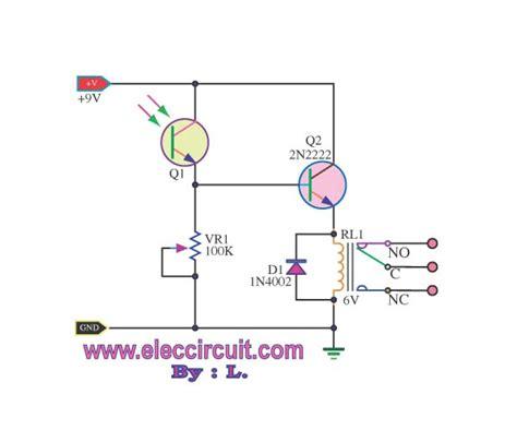 Light Actuated Relay Circuits Photo Transistor Circuit