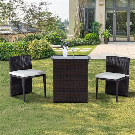 outsunny 3pcs outdoor wicker rattan bistro set patio chair