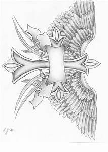 Cross With Wings Tattoo Sketches - Amazing Tattoo