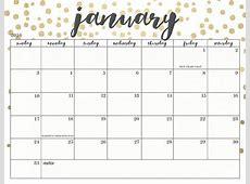 January 2019 Calendar Cute year printable calendar