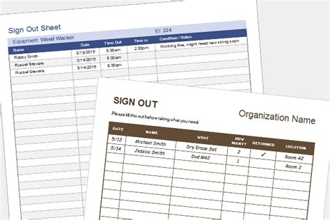 equipment sign  sheet tool check  form