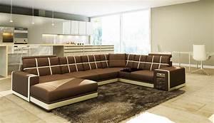 deco in paris canape d angle panoramique cuir marron et With canape d angle beige et blanc