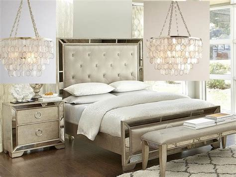 gold or silver chandelier for this bedroom set