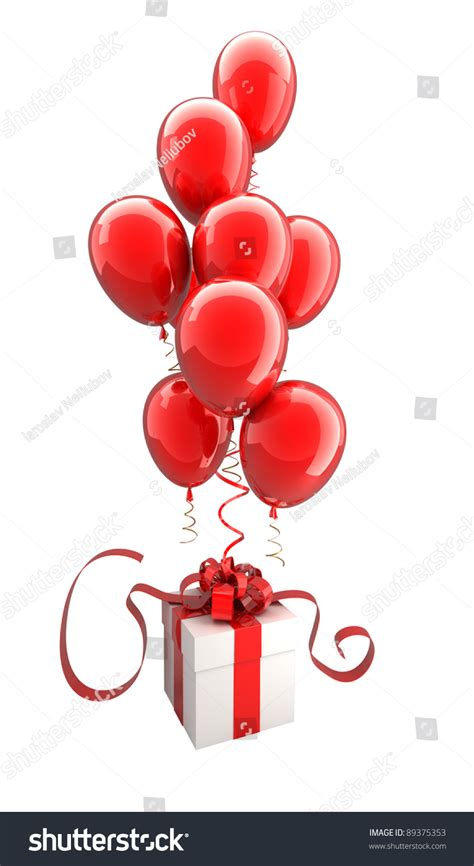 gift box red balloons isolated  stock illustration