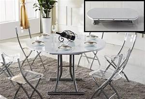 Table Basse Relevable Blanche : table basse ronde relevable et extensible planet blanche ~ Teatrodelosmanantiales.com Idées de Décoration