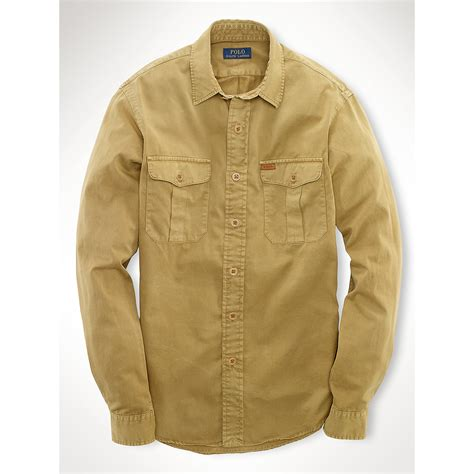 lyst polo ralph lauren chino military shirt  brown  men