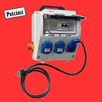 coffret electrique de chantier tableau electrique coffret de chantier 250v 3 prises disjoncteur interrupteur differentiel